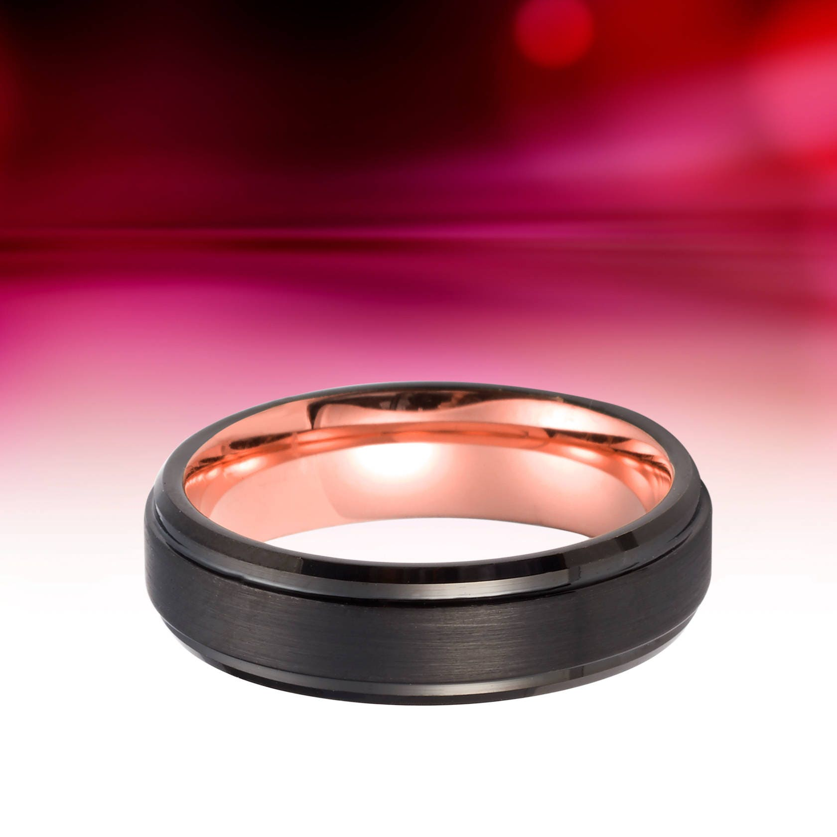 Tungsten Ring Rose Gold Wedding Band Black And Rose Gold Ring Mens ...