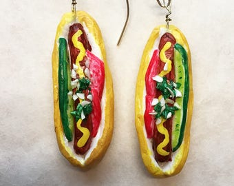 Handmade Chicago Hot Dog Earrings