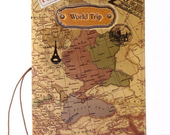 Premium World Trip Travel Map Passport Cover And Holder