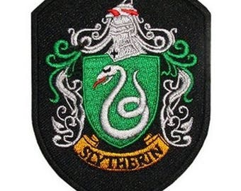 """FREE SHIPPING-Domestic-InspireMeByAudrey Harry Potter Slytherin House Crest Embroidered Sew/Iron-on Patch/Applique 2"""" X 2.75"""""""