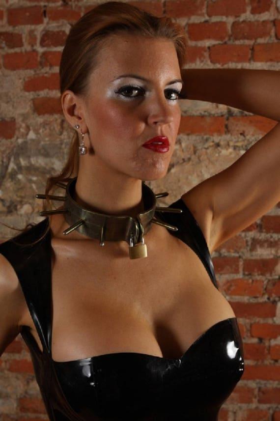 Terginum BDSM wide Steel collar spike metal necklace dungeon