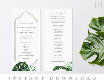 Beach Wedding Program, Tropical Wedding Program, Order of Service, Program Template, Ceremony Program, Wedding Program Template #TIS