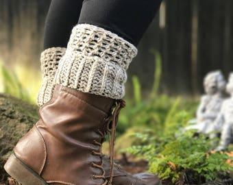 Crocheted Boot Cuffs, Beige, Black, Brown