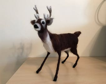 Handmade unique needle felted stag
