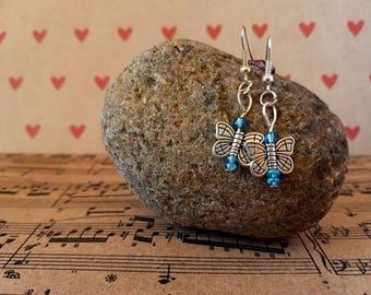 Butterfly earrings-blue