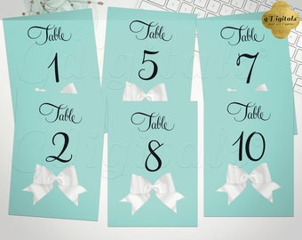 Turquoise Blue Table Numbers 1-10. Breakfast at bridal shower, lingerie, birthday, sweet 16, baby and co. Instant Download! 5x7