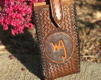 Hand tooled leather phone holster