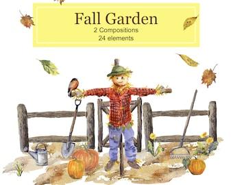 Fall Garden Themed Clipart Collection: Scarecrow, Pumpkins,  Split Rail Fence,  Wheelbarrow, Gardening Tools, Fall Leaves