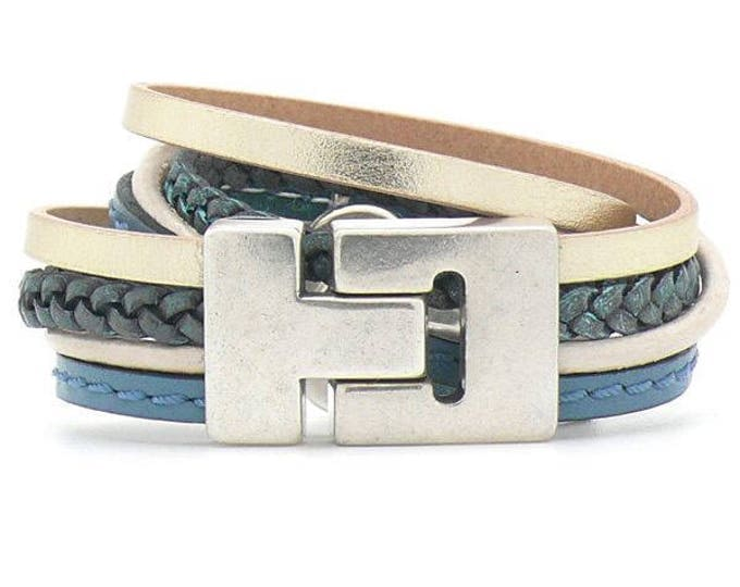 Bracelet Bracelet Leather Blue Champagne magnet closure Dqmetaal Wrap Bracelet