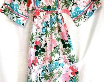 70s Gilead Peasant Maxi Dress Floral High Waist