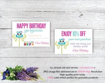 Dot Dot Smile Birthday card, Dot Dot Smile Birthday Discount, Custom Dot Dot Smile Card, Owl Card, DDS Marketing, Printable file DS79