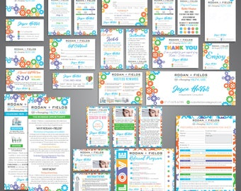 Rodan and Fields Marketing Kit, Rodan + Fields Marketing Bundle, R and F Marketing Package, PERSONALIZED Rodan Fields Cards, R+F RF07
