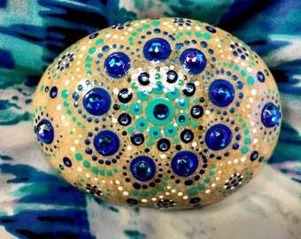 Medium mandala, mandala stone, mandala rock, mandala, painted stone, painted rock, meditation stone, serenity rock, dot art, mandala