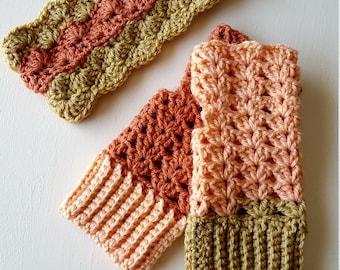 Crocheted Ear warmer & Fingerless gloves Set