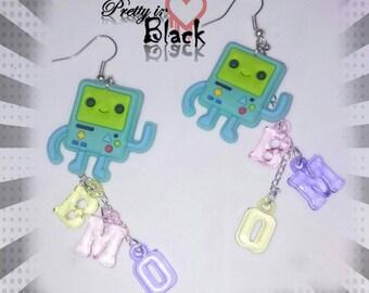 Bmo earrings. Adventure time earrings. Beemo earrings.  Cartoon jewelry. Character jewelry.