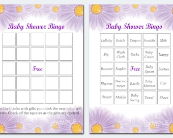 Floral baby shower bingo, flowers baby shower bingo, floral baby shower bingo cardsFloral , Printable Blank Bingo Cards AND PreFilled Cards