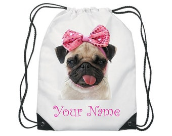 Personalised Pug Bow Gym Bag PE Dance Sports School Swim Shoe Bag Waterproof