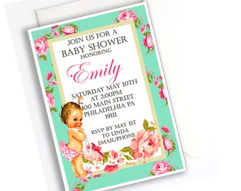 Vintage Floral Baby Shower Invitation
