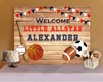 SPORTS BABY SHOWER- All star Sports Baby Shower Buffet Table Backdrop