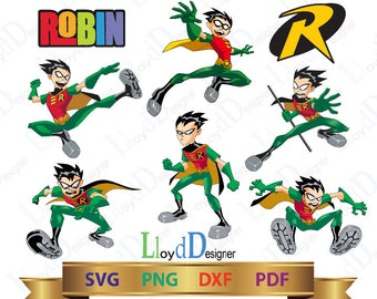 Robin svg Teen titans go svg teen titans robin clipart robin logo svg eps png dxf pdf files Cutting Design Silhouette Studio Cricut