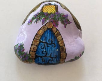 Lavender Hand Painted Rock House with Blue Door & Tumbled Stone