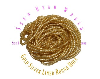 15% Off 8/0 Silver Lined Gold Round Hole Czech Seed Bead Sold by the Hank Strung Beads