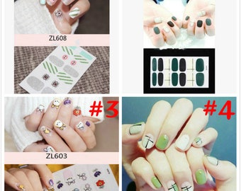 Vinyl nail stickers etsy on sale 3d nail art transfer decals stickers flowers stars eyes decals manicure decoration tips prinsesfo Choice Image