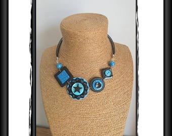 Necklace blue and black polymer and her star