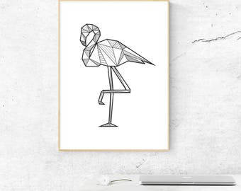 Flamingo Wall Decor, Flamingo Print, Boho Decor, Flamingo Wall Art, Tropical Print, Minimalist Flamingo, Tropical Decor