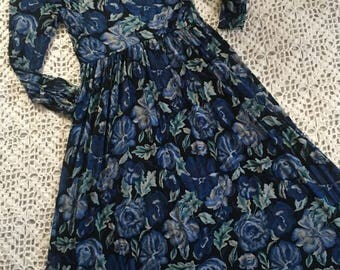 Vintage Laura Ashley Blues Dress ~ Size 10/12