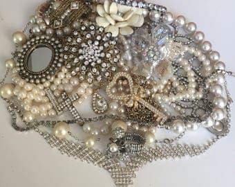 PEARLS & SUCH Broken Jewelry Lot wedding DIY bouquet rhinestone necklaces jewelry findings crafting destash Vintage Mod