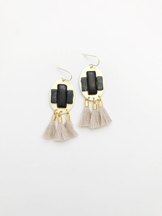 Black Gem Tassel Earrings