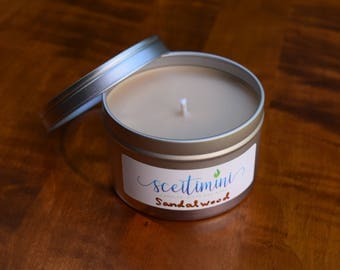 Sandalwood Soy Candle in 8oz Tin with Lid