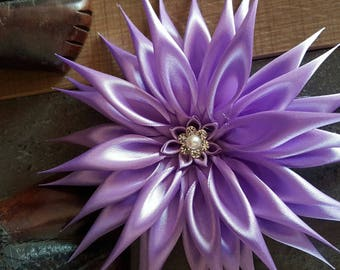Dahlia is made of purple satin ribbon