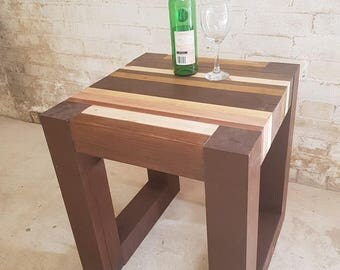 Hand Crafted Unique Chunky Rustic Retro Side Table / End Table