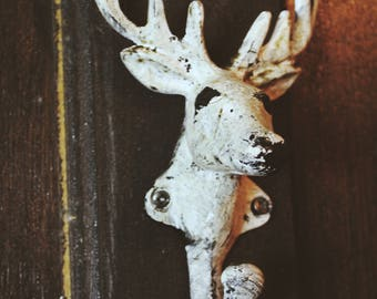 Cast Iron Decorative Painted Deer Head Coat Hook or Curtain Tie Back Lovely Shabby Chic Design 150mm