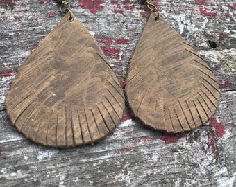 Brown Leather Raindrop Earrings