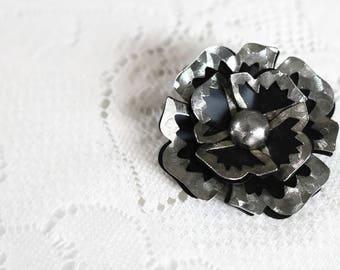 Vintage 1960's Enamel, Matte black double layer, floral brooch.