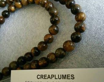 Set of 10 6mm Tiger eye beads