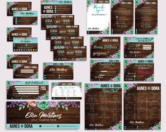 Agnes and Dora Bundle, Agnes Dora Marketing Kit, PERSONALIZED Agnes Dora Cards, Agnes Dora Marketing, Wooden Background, Printable AG09