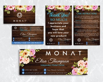 Monat Starter kit, Custom Monat Business Card, Monat Hair Care, Wooden Background, Monat Thank You Card, Monat Facebook, Printable Card MN26