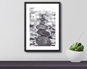 Zen Stones Print, Zen Stones Poster, Zen Stones Wall Art, Home Decor, Gift for Her, Moving gift, Art Print, Digital Download, Printable