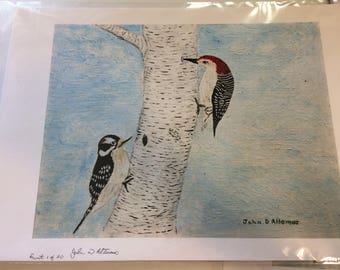 Birds with Birch Tree