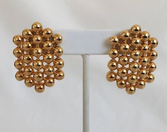Honeycomb Earrings, Gold Ball Cluster Earrings, Pierced, Open Work, Gold Tone, Vintage, 1980s
