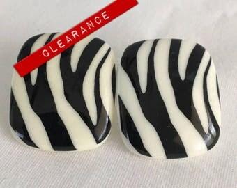 CLEARANCE Zebra Stripe--Black and White Rectangle Plastic Pierced Retro Vintage Earrings