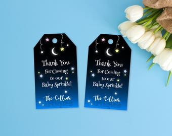 Personalized Hanging Stars Moon Thank You Tag Gift Favor Favors Gifts Birthday Baby Shower Baby Sprinkle Party Printable DIY - Digital File