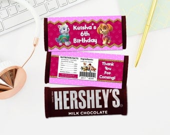 Personalized Paw Patrol Everest Skye Hershey's Chocolate Bar Wrapper Birthday Party Favor Wrappers Labels Label Printable DIY - Digital File