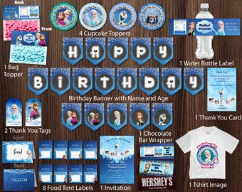 Frozen Birthday Party Package Kit Bundle Printable Banner Invitation Thank You Card Tags Bag Topper Cupcake Topper Food Tent - Digital File