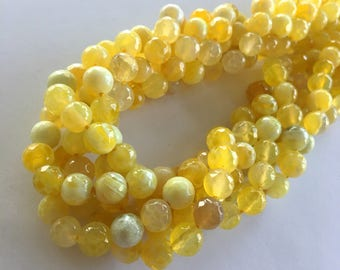 "8mm Natural Round Faceted Dyed Natural Two Tone Fire Agate Beads - (Yellow & White) - 47 pieces / 15"" strand"