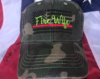 Ladies Thin red line Fire fighter American flag, Fire Wife camo hat, fire cap, Firefighter's wife embroidered red line camo hat, fire wife